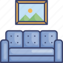 couch, decor, frame, furnishing, furniture, interior, seat icon