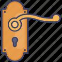 door, estate, handle, interior, keyhole, real icon