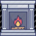 fire, fireplace, frame, furnishing, furniture, interior, livingroom icon