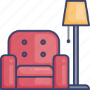 armchair, chair, furniture, lamp, lighting, living, room icon