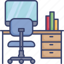 chair, computer, desk, furnishing, furniture, monitor, office icon
