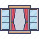 curtain, decor, furnishing, furniture, interior, open, window icon