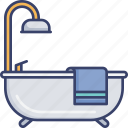 bath, bathroom, bathtub, furnishing, interior, shower, towel icon