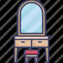 furnishing, furniture, interior, mirror, stool, table, vanity icon