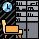 armchair, bookshelf, clock, furniture, interior, library, living icon