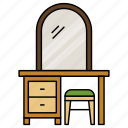 table, mirror, drawers, cabinet, furniture, dressing, stool
