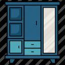 cupboard, furniture, cabinet, drawers, mirror, wardrobe