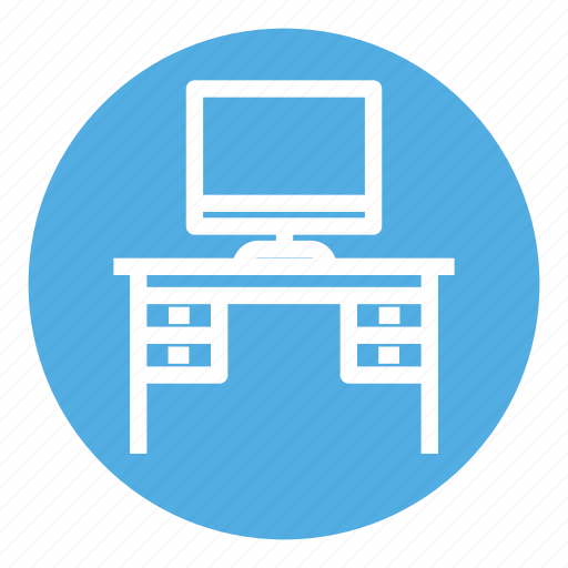 furniture, home, interior, monitor, office, table, work table icon