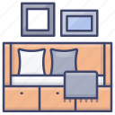 day, drawer, bed, guest icon