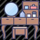 cabinet, desser, makeup, table