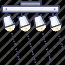 ceiling, track, lighting, spotlight icon