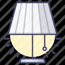 desk, lamp, light, table