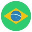 brazil, country, flag, brazilian icon