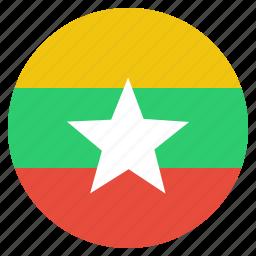burma, burmese, country, flag, myanmar, national icon