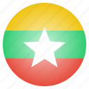 burma, burmese, country, flag, myanmar, national icon