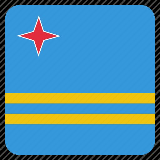 aruba, country, flag, national icon