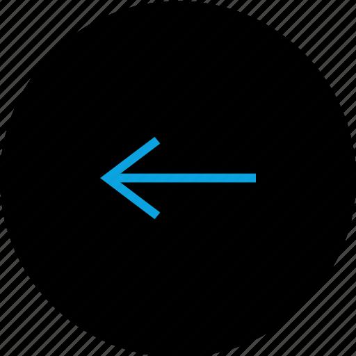 arrow, back, backwards, circle icon