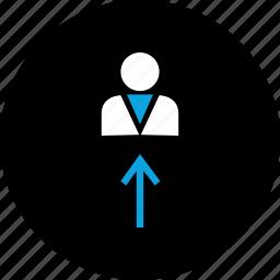 arrow, profile, up, user icon