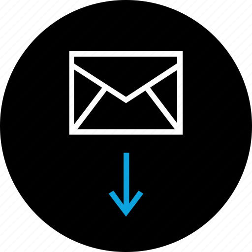 arrow, down, email, mail icon