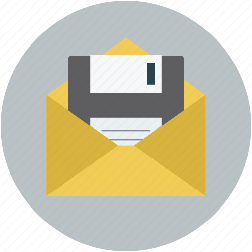 data, electronic mail, floppy disk, mail, multimedia icon