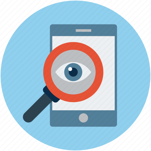 hacking, identity check, magnifier, mobile, search, seo icon