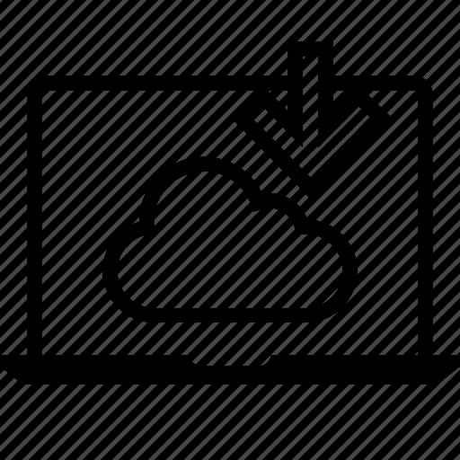 arrow, down, internet, laptop, online, pc, web icon