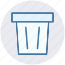 dustbin, garbage can, rubbish bin, trash can, waste bin icon