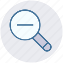 search out, search tool, magnifying glass, zoom out, searching tool, magnifier