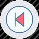 backtrack, media, replay, reverse, rewind icon