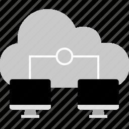computer, connect, double, internet, online, web icon