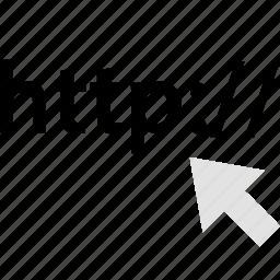 address, arrow, click, http, internet, online, web icon