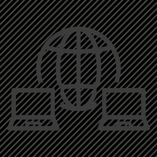 connection, internet, laptop icon