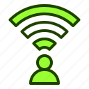 connection, internet, user, wifi, wireless icon