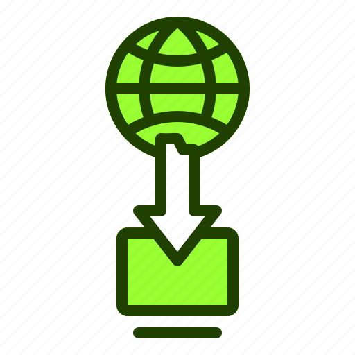 arrow, computer, download, from, internet, website icon