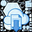 arrow, cloud, document, down, download, storage, transfer icon