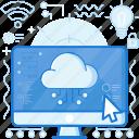 cloud, computer, monitor, network, screen, storage, transfer