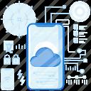 cloud, data, database, mobile, phone, smartphone, storage