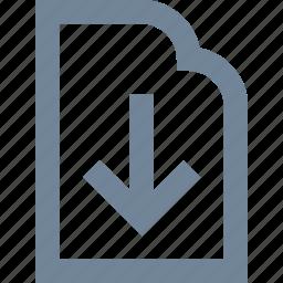 document, download, file, internet, line, paper icon