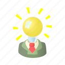 brain, bulb, business, cartoon, idea, intelligence, lamp icon