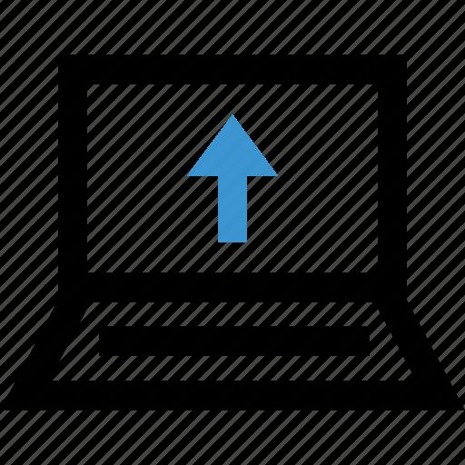 arrow, internet, laptop, up, upload icon