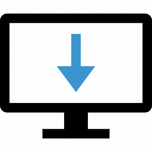 arrow, computer, down, internet icon