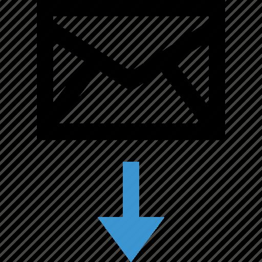 arrow, down, envelope, internet, mail icon