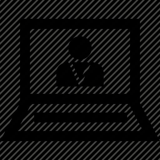 internet, laptop, person, profile, user icon