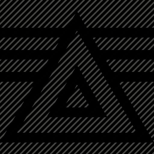 lines, three, triangle icon