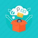 digital marketing, marketing package, cloud marketing, applications box, online marketing icon