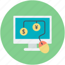 cash interface, cash method, computer, dollar circles, online business icon