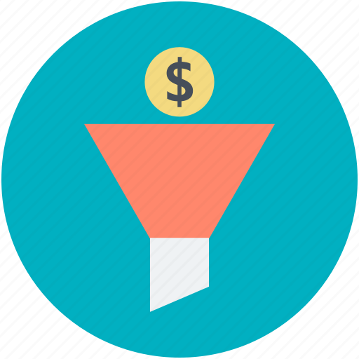 account, banking, earnings, finance, funnel with coin icon