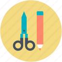 drafting, hand tools, pencil, scissor, sketch icon