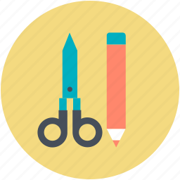 drafting, hand tools, pencil, scissor, sketch icon