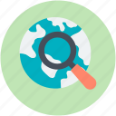 discovery, explore, global search, globe, magnifier icon
